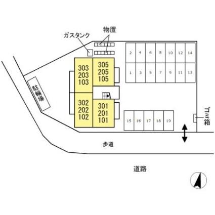 グランドゥ フォレット[1LDK/37.93m2]の配置図