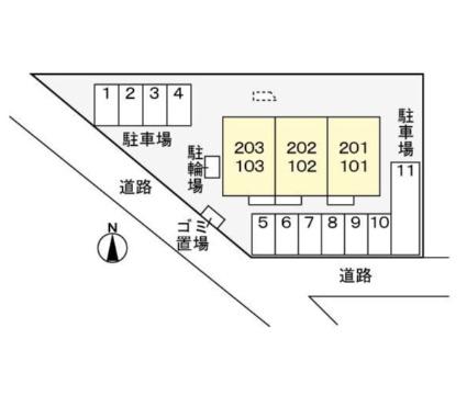秀明2nd[2DK/47.23m2]の配置図