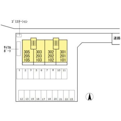 岡山県岡山市中区浜[1LDK/44.32m2]の配置図