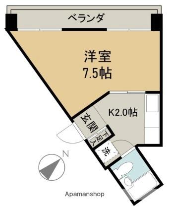 京急西広島マンション[1K/24.41m2]の間取図