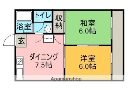 灘田ビル[2DK/39.74m2]の間取図