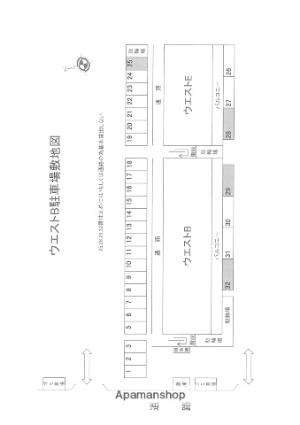 ウエストB[1K/25.92m2]の配置図