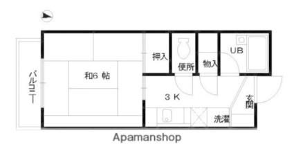 八百金ビル[1K/24.3m2]の間取図