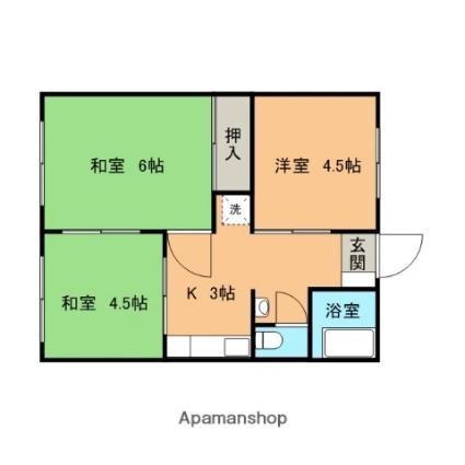 山口県下関市長府安養寺1丁目[3K/50m2]の間取図