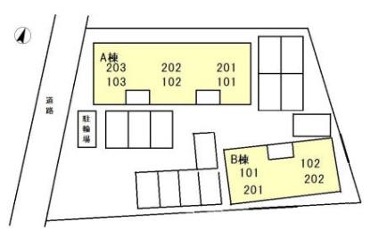 ハイカムール麻美 A棟[2LDK/55.45m2]の配置図