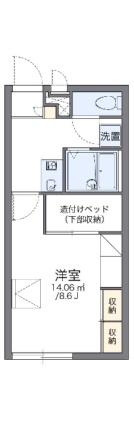 レオパレスタウンコート南矢三Ⅱ[1K/23.18m2]の間取図