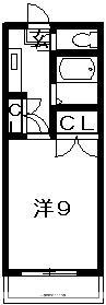 シビル西新浜[1K/24.3m2]の間取図