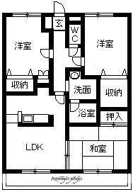 エクセレントドリームタウンⅡ[3DK/66.24m2]の間取図