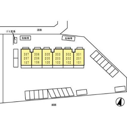徳島県徳島市南矢三町3丁目[1K/28.14m2]の配置図
