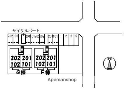 香川県高松市多肥下町[2LDK/53.26m2]の配置図
