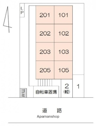 香川県高松市福岡町2丁目[1K/23.19m2]の配置図