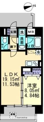 香川県高松市塩上町1丁目[1LDK/40.8m2]の間取図