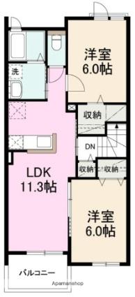 クー・ドゥ・バレーヌ[2LDK/54.6m2]の間取図