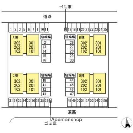 香川県高松市多肥下町[2LDK/64.74m2]の配置図