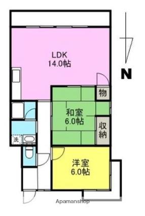 ハイム屋島[2LDK/64m2]の間取図