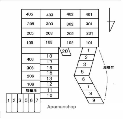 ハイム屋島[2LDK/64m2]の配置図