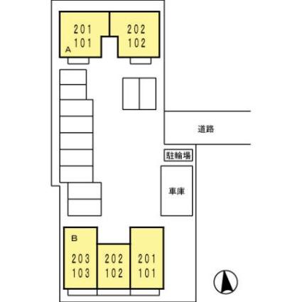セジュール山西 B棟[1DK/37.26m2]の配置図