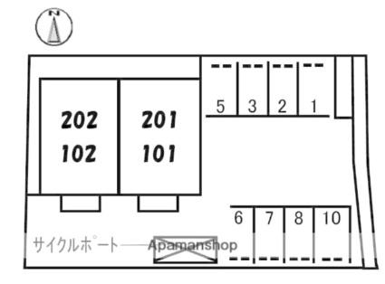 愛媛県伊予市下吾川[2LDK/55.08m2]の配置図
