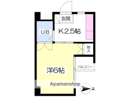 岡本ハイツ[1K/19.24m2]の間取図