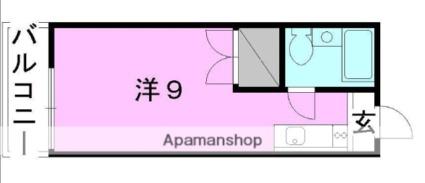 愛媛県松山市緑町2丁目[1R/18.95m2]の間取図