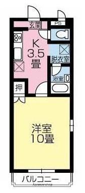 愛媛県東温市樋口[1K/35.64m2]の間取図
