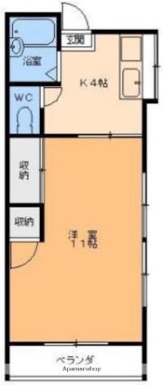 愛媛県松山市枝松1丁目[1K/27m2]の間取図