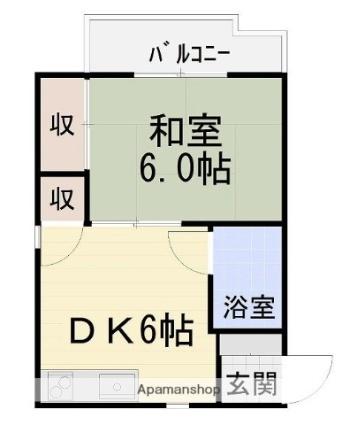 愛媛県東温市南方[1DK/24.73m2]の間取図