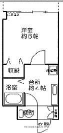 愛媛県東温市志津川[1R/28.35m2]の間取図