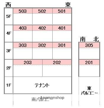 パーチェ4・2・3[1K/17.01m2]の配置図