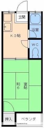 愛媛県松山市宮田町[1K/17.81m2]の間取図