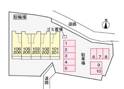 サンローレル[1K/32.43m2]の配置図