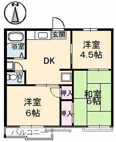 サンハイツ四軒町[3DK/42m2]の間取図