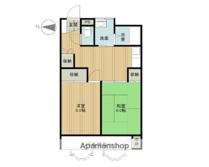 コーポ栄寿 第二ビル[2DK/52.7m2]の間取図