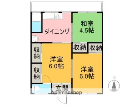 富士マンション[3DK/45.36m2]の間取図
