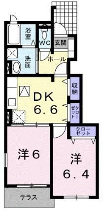 カーサ・フェリーチェ[2DK/46.24m2]の間取図