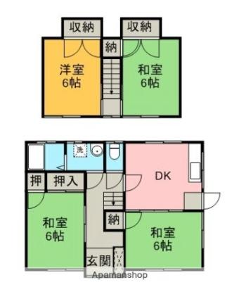 樋之口 貸家(100021)[4DK/78.28m2]の間取図