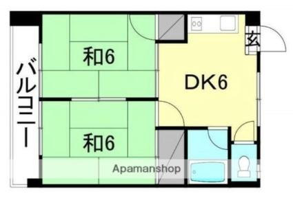 クィーンビル[2DK/36.45m2]の間取図