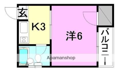 第二曙マンション[1K/17.43m2]の間取図