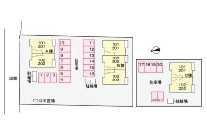 スマイリーハウス宇和 Ⅲ[2LDK/57.07m2]の配置図