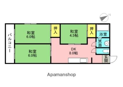 第2マルヨマンション[3DK/60m2]の間取図