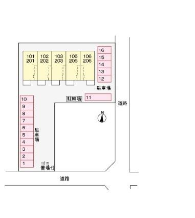 レジデンス アイ D[2LDK/56.81m2]の配置図