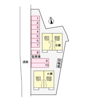 ウエスト・リーク Ⅱ[2LDK/54.8m2]の配置図