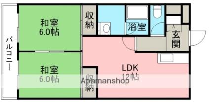 コーポ田中5号館[2LDK/48.63m2]の間取図