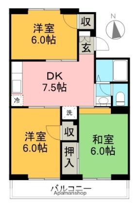 グランドステージ一宮中町[3DK/55.52m2]の間取図
