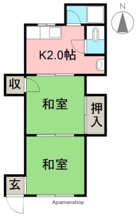 東の丸ハイツ[2K/24.75m2]の間取図