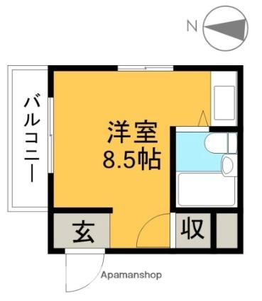 シャーマー上町[1R/15m2]の間取図