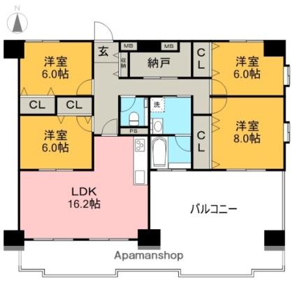 高知県高知市薊野南町[4LDK/107.91m2]の間取図