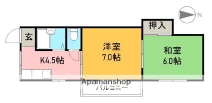 武田マンション(桟橋)[2K/36.8m2]の間取図