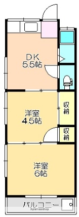 西泉荘[2K/33.06m2]の間取図