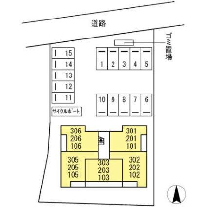 福岡県糟屋郡粕屋町原町2丁目[1LDK/40.39m2]の配置図